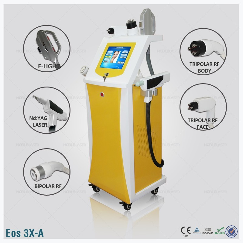 (Eos-3X-A) Multifunction equipment elight bipolar tripolar rf nd yag laser hair removal face lift tattoo removal