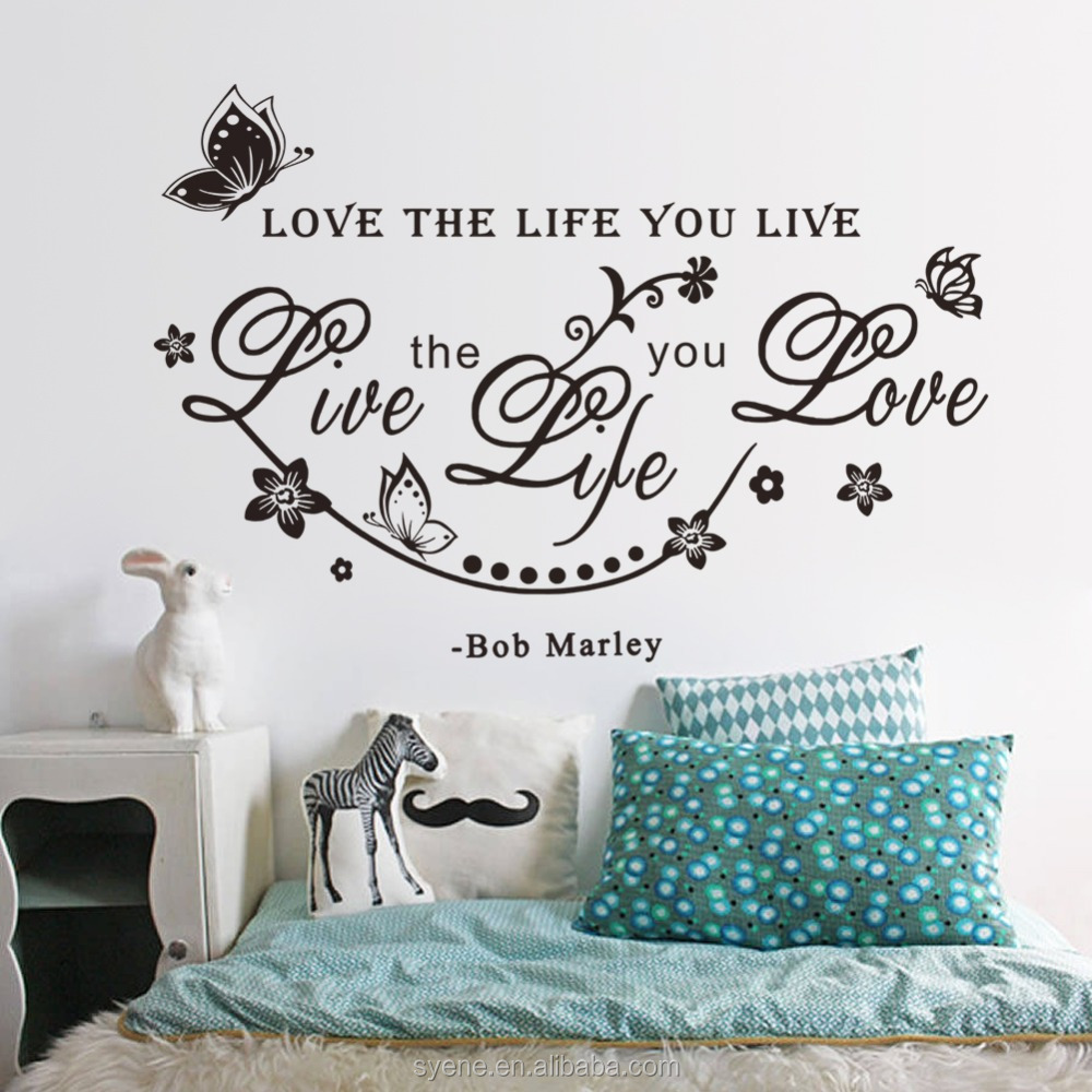 3dwall decals custom vinyl stickers quotes love the life you live flower butterfly bob marley wall stickers home decor art mural