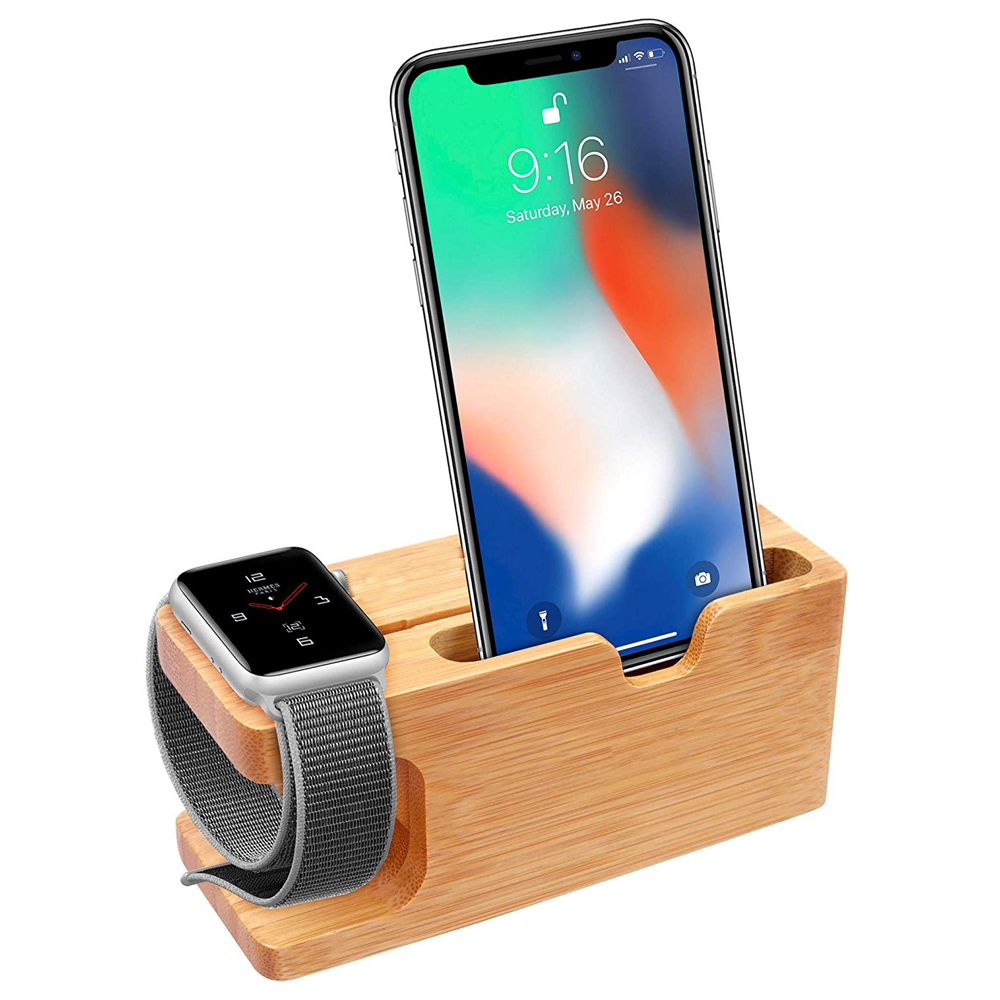 Cell Phone Charger Dock with Watch Bamboo Holder Desk Wood Charging Stand For iPhone