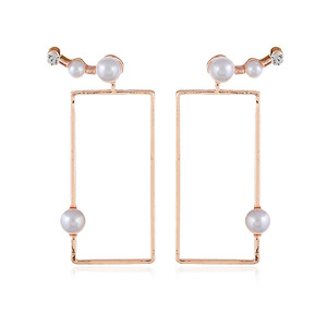 Personalized Simple Gold Alloy Inlay Pearl Dangle Earring Pave Cubic Zirconia Rectangular Cuff Earring