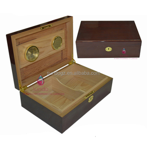 with metal lock gloss wooden humidor wholesale cigar box