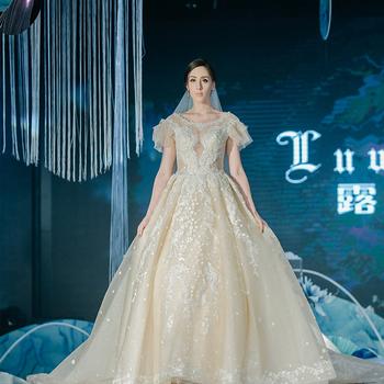 Luweiya Plus Size Bridal Gowns Western Elegant Champagne Dress Gown  Guangzhou Factory Luxury Crystal Wedding Dress For Bride - Buy Champagne  Wedding ...