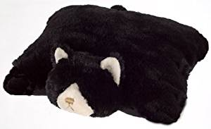"SMALL BLACK CAT PET CUSHION ANIMAL PILLOW, ""PLUSH & PLUSH"" BRAND, 11"" inches"