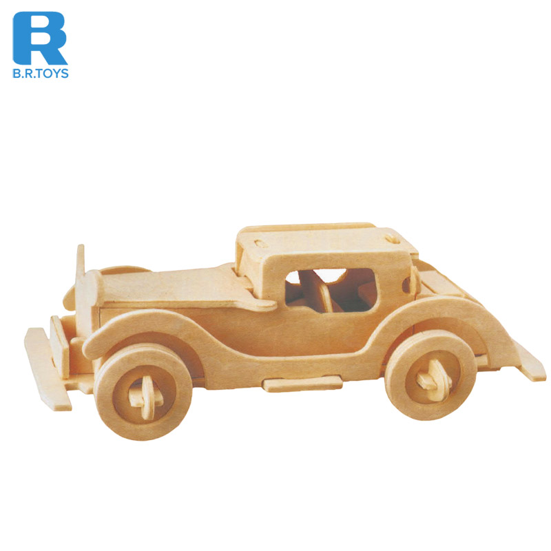 Educational classic children learning 3d diy iq puzzle game toy car wooden puzzle for children