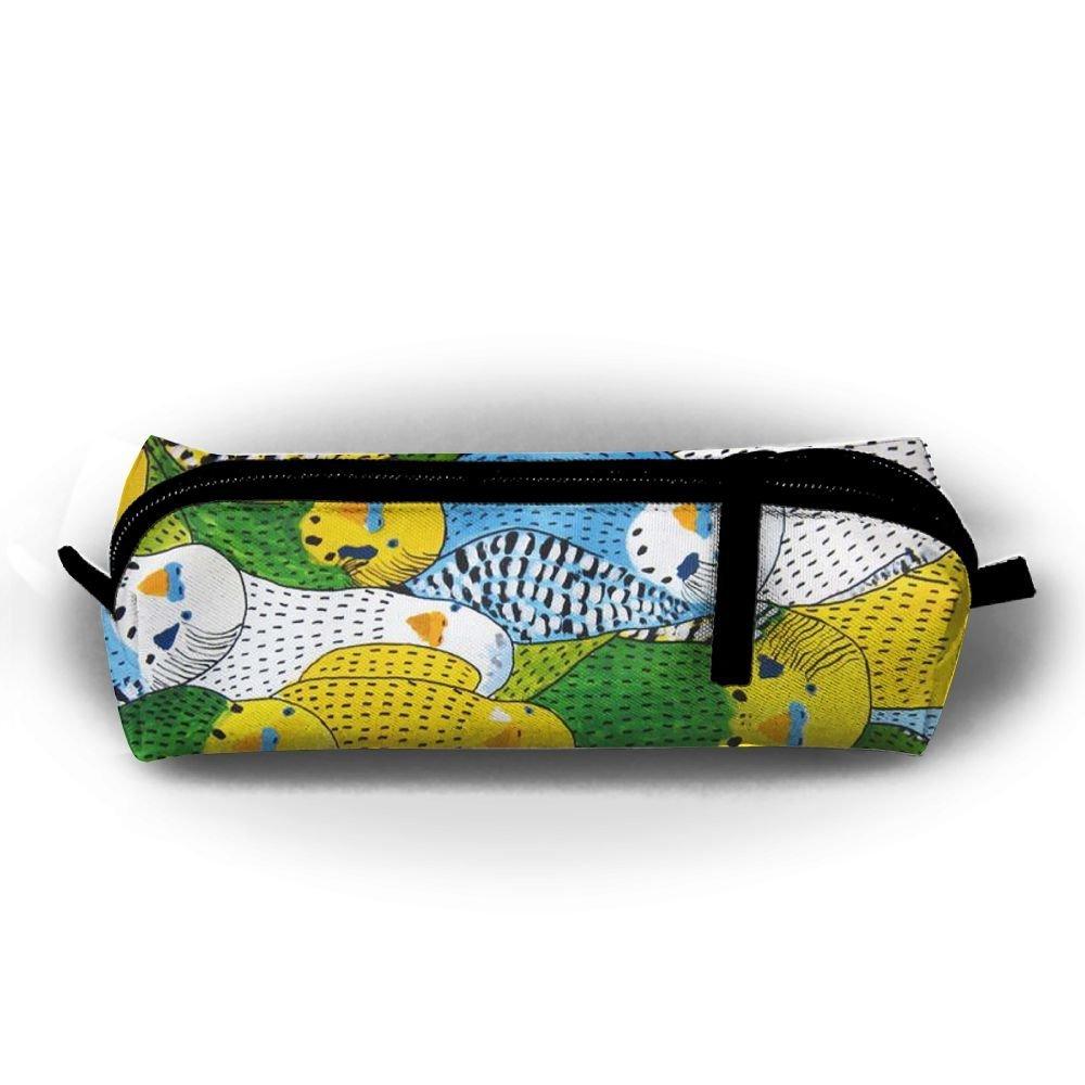 GS-wall Watercolor Parakeet Parrots Bird Pen Bag Pencil Case Cosmetic Makeup Bag Pouch Purse For School Office Travel