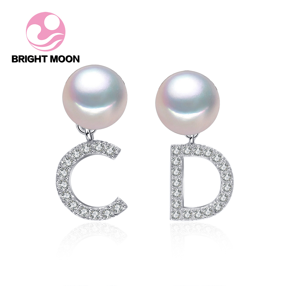 Bright Moon High quality pearl earrings High Luster Pearl jewelry Brand CD 925 silver earrings for women Party wedding earrings