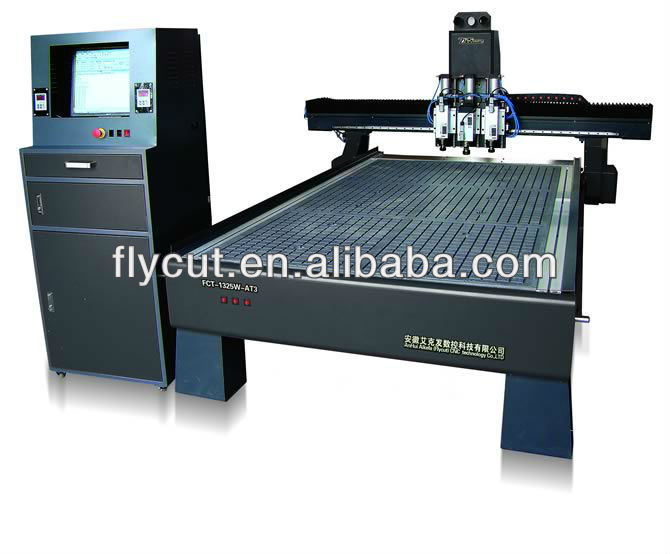 flycut FCT-1325W-AT3 automatic tool change spindle cnc with 3 spindle in size 1300*2500mm