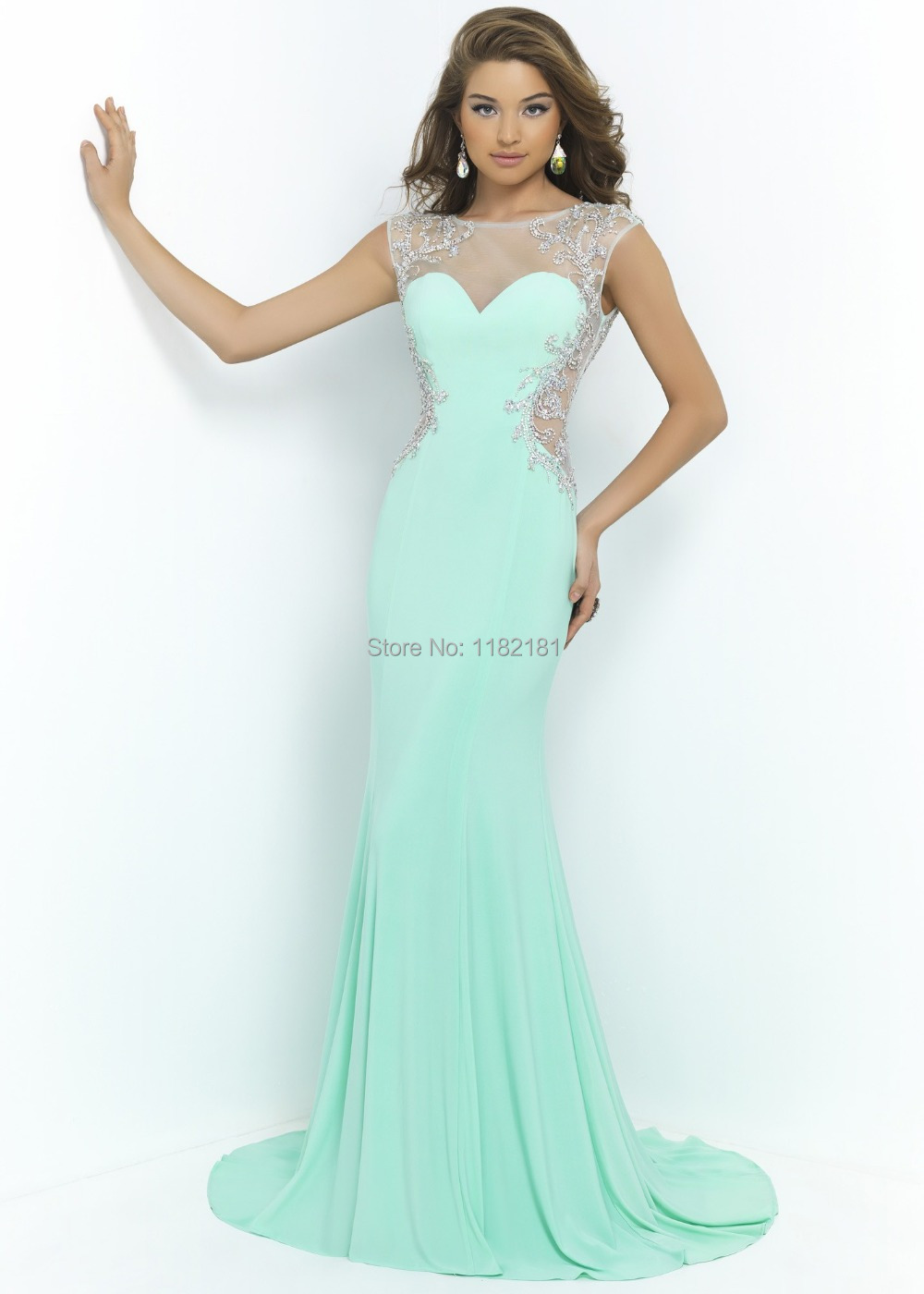 Cap Sleeves Open Back Mint Prom Dress Mermaid Sexy Long Evening Gowns Beaded 2015 Custom Made