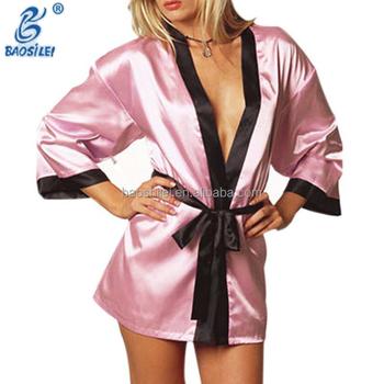 65774608d4 -Mujeres Pijamas ropa de dormir Sexy par de seda sexo vestido de noche