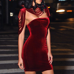 Fashion Women Sleeveless Mini Dress Vintage Outfit Casual Dress Removable Collar Stretch Velvet Strapless Bodycon Dress