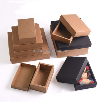 Wholesale Handmade Sliding Brown Kraft Paper Sock Towel Box With Drawer