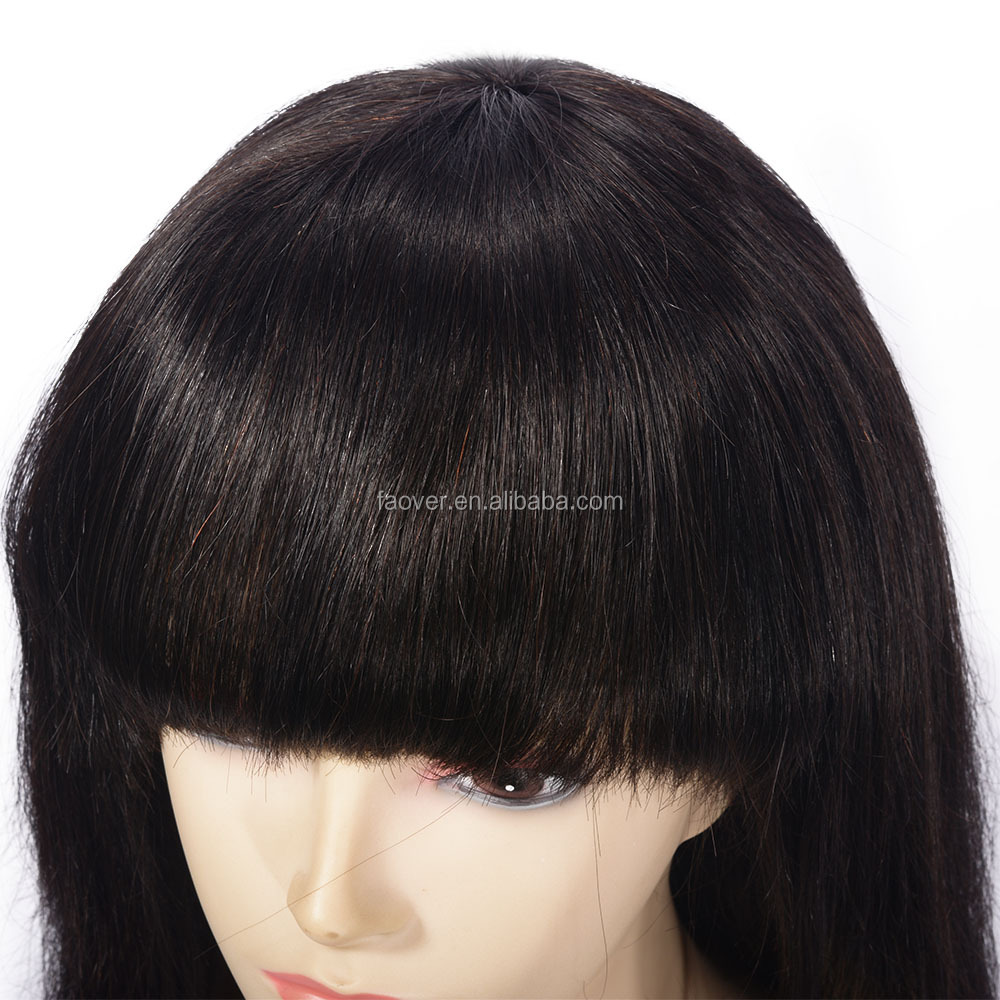 100% Human Hair Wigs Brazilian Lace Front 150% Density 7A Silky Straight Front Lace Wig With Bang