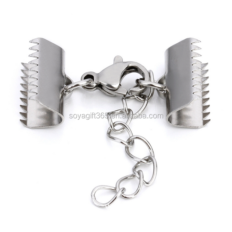 Stainless Steel Clip Have Teeth Lobster Clasp Tail Chain For Bracelet Necklace Buckle Diy Accessories