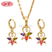 Popular fashion new models girl plated earring jewelry sets for turkish gold jewellery designs