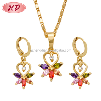 Popular Fashion New Models Girl Plated Earring Jewelry Sets For