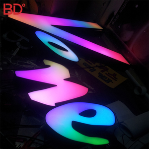 Signage Polished Stainless Steel led Illuminated sign 3D Led letter Big Frontlit Channel Letter For shop acrylic sign