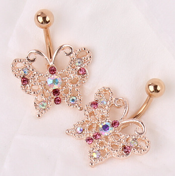 Top Quality Dangle Belly Button Ring 14g Rose Gold Belly Bar Body Jewelry Butterfly Navel Piercing For Sexy Women Luxury Bijoux Buy Fashion Body