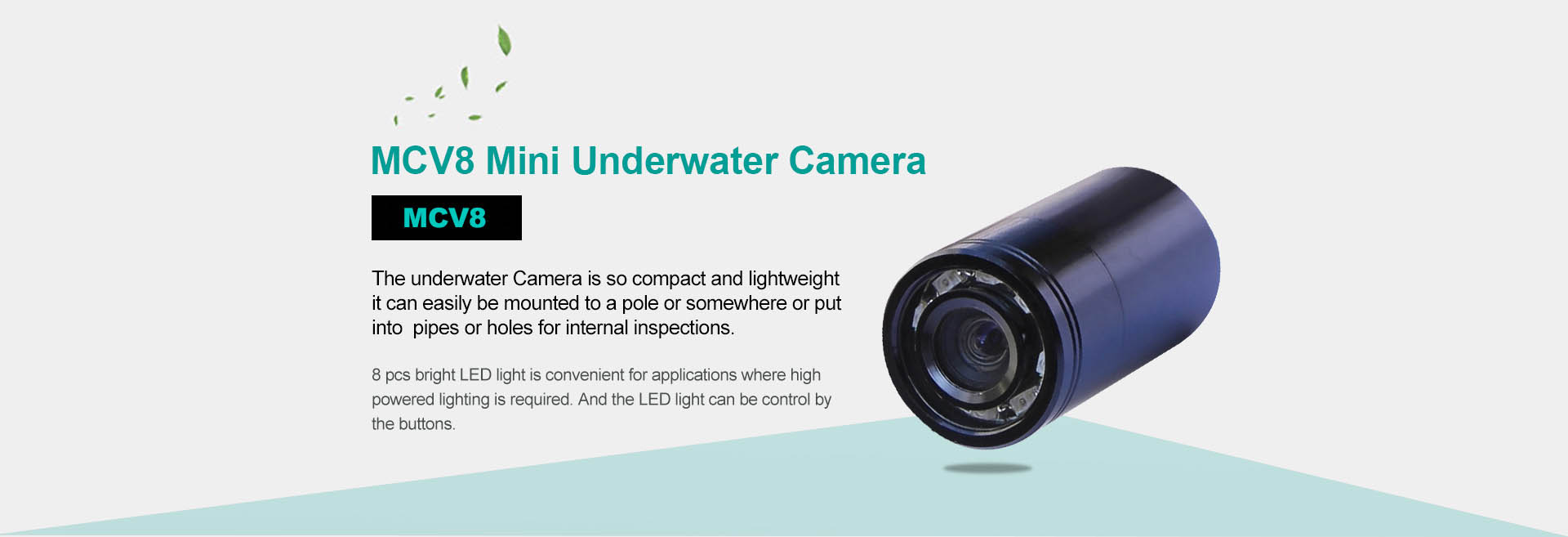 HOT 0.5~100m long cable mini underwater fishing video inspection camera w// 8 LED