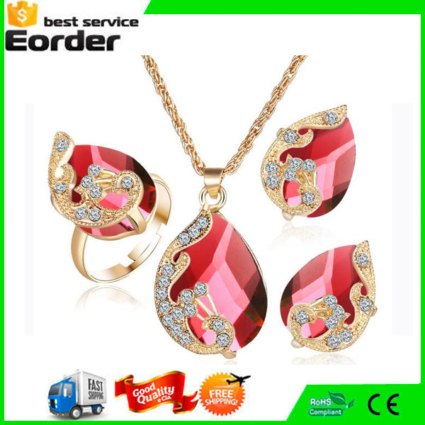 Gold Plated Austrian Peacock 3piece Crystal Zircon Drop Pendant Necklace Earring Ring Sets