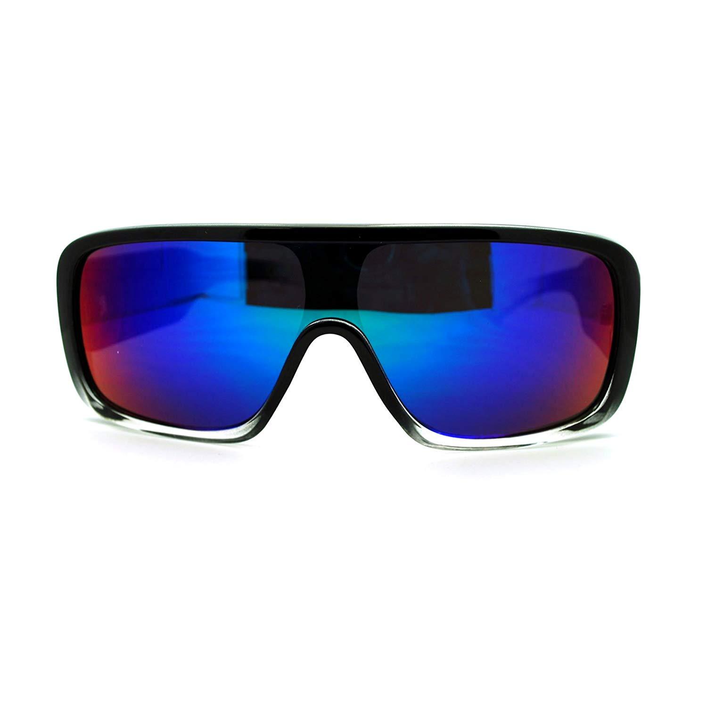 0cb29b85d1e Get Quotations · Futuristic Mens Hip Hop Rapper Rectangular Shield Mono  Lens Sport Sunglasses