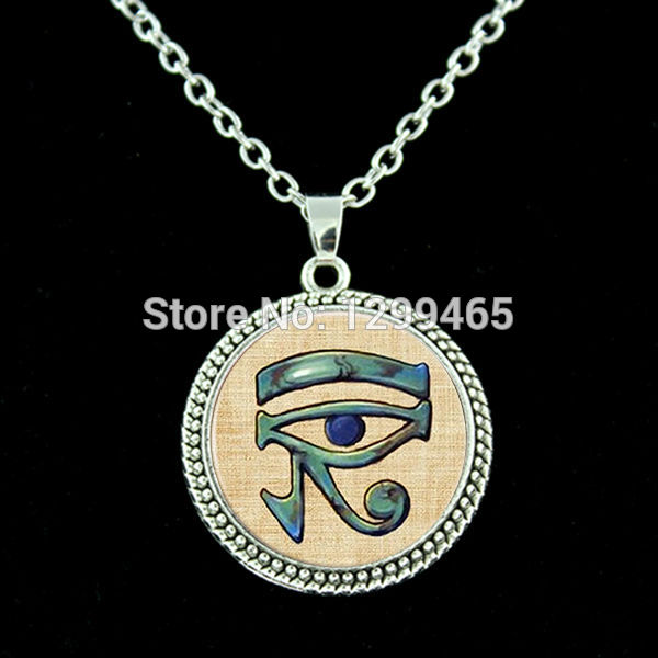 c4753197d11fb Ancient Eye of Horus Necklace Egypt antique esoteric mag pendant Eye Of  Providence art picture chain necklace Reading N 357