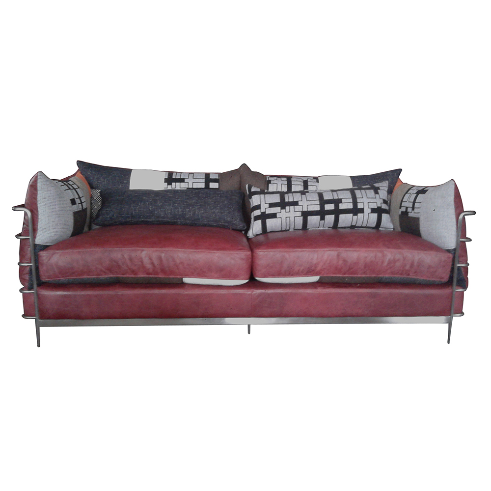 Metal Pipe Frame Vintage Leather and Fabric Sofa Set for Office, View  Vintage Leather and Fabric Sofa Set, Defaico Product Details from Henan  Defaico ...