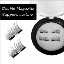 Mode Dual Magnetische Falsche <span class=keywords><strong>Wimpern</strong></span> Starke Lange Natürliche Make-Up <span class=keywords><strong>Wimpern</strong></span> Verlängerung Make-Up-Tool Schwarz lash Maquillage 2 magneten