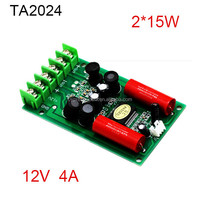 Professional power audio amplifier 12V 15W+15W 2 channel ta2024