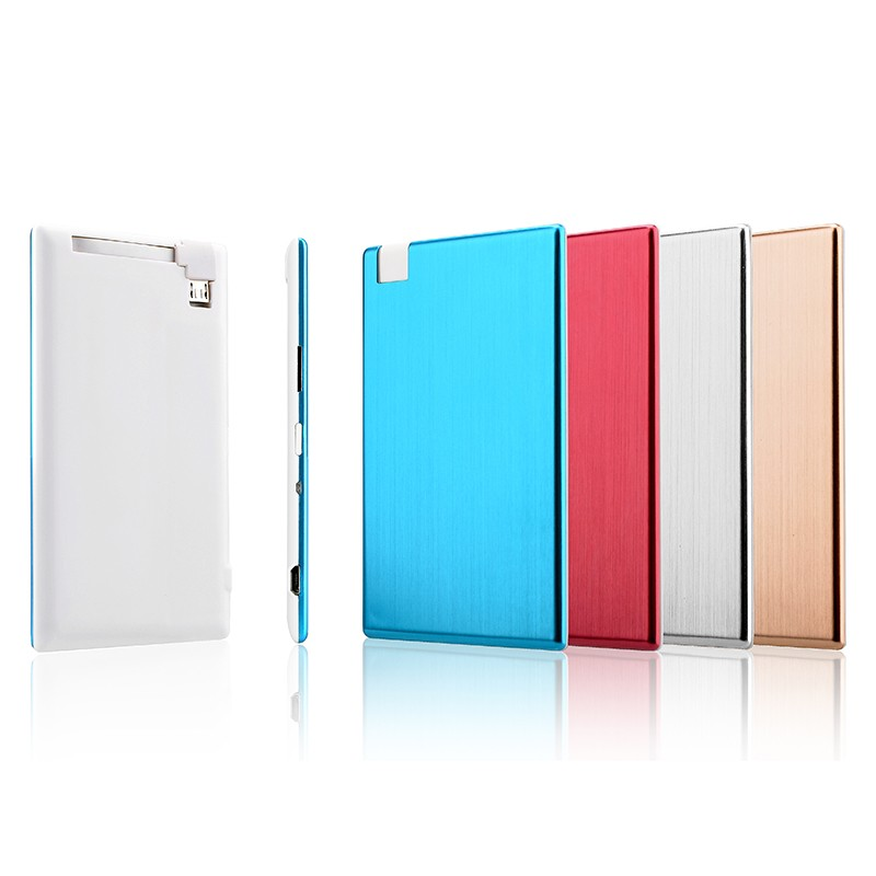 Thinest 4.8mm portable aluminum name card power bank 1500mah