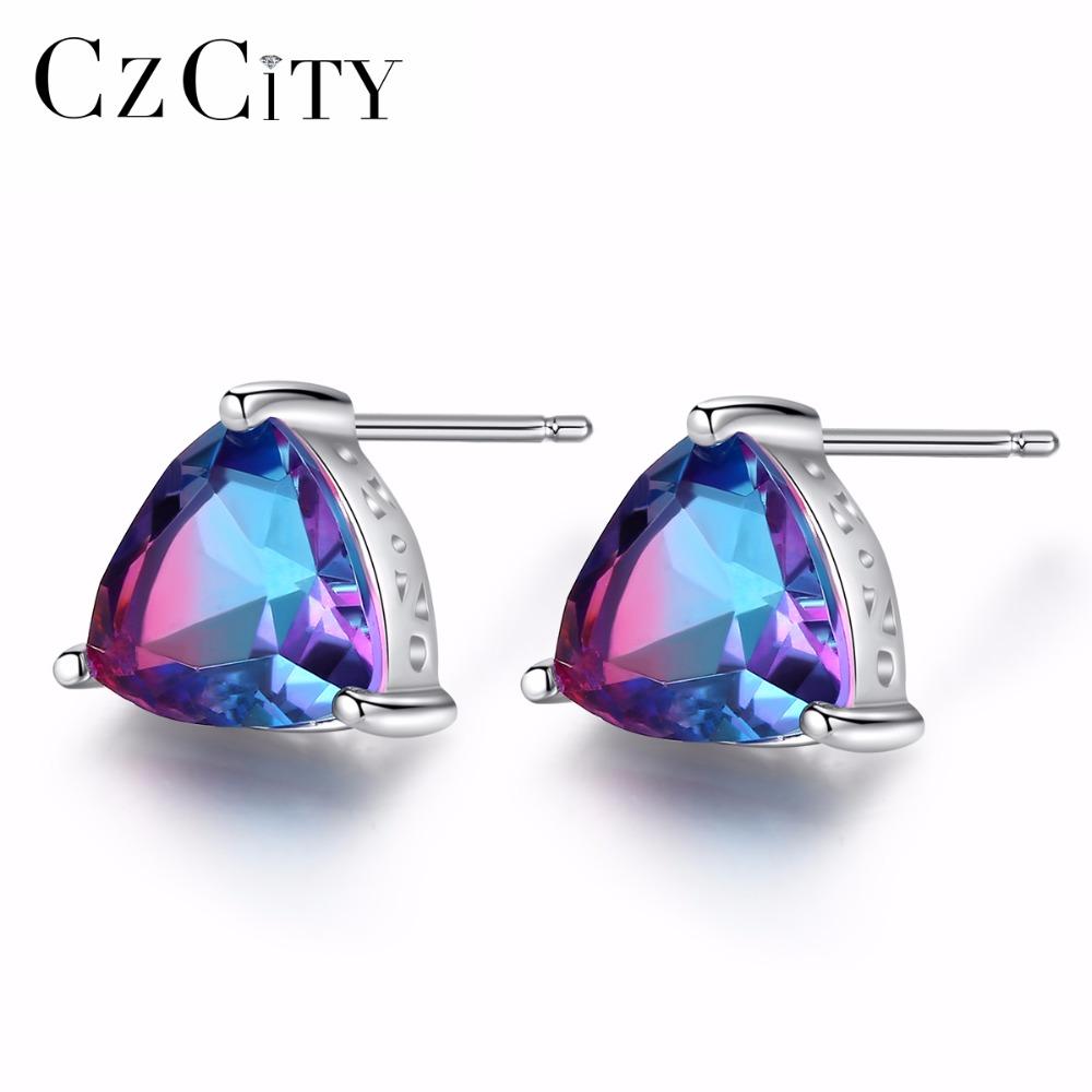 MYSTICAL Topaz 2-Layer Zircon Hollow Waterdrop Gems Earrings 18K Gold Filled