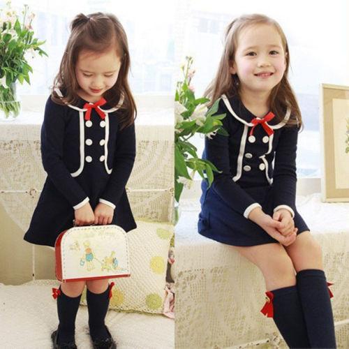 2015 Autumn new arrival Christmas Baby Girls Princess long sleeve Polka Dot Bow Party font b