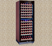 Blue LED light dual- zone brown colored wine cooler cabinet SRW-128D/83-95Bottles capacity