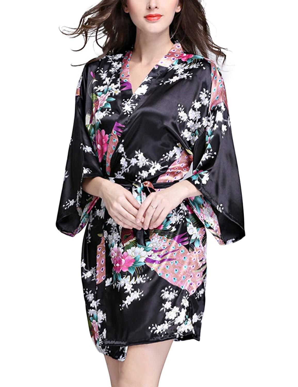 Get Quotations · YTQ Women s Imitation Silk Sleepwear Nightgown V Neck Half  Sleeve Summer Thin Floral Print Bathrobe Nightgown 4d8e51523
