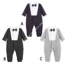 China wholesalers baby plain black romper cotton-padded gentleman infant toddlers clothing with bow tie