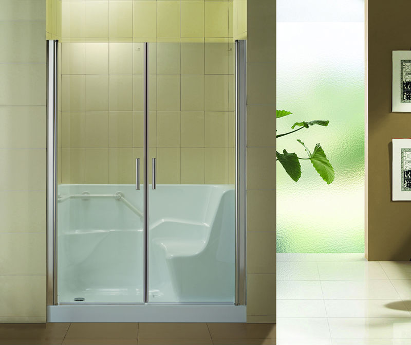 Hs b0001 sliding walk in shower door walk in tub shower for Shallow tub shower combination