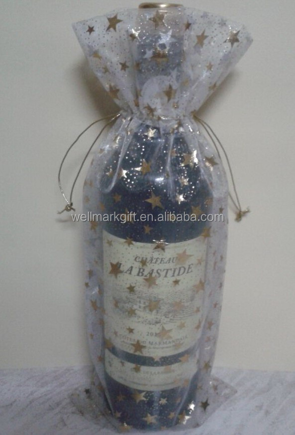 Customized Patterned Printed Organza Wine Bottle Wrapping decoration Bag
