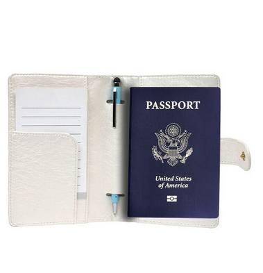 Pu genuine leather passport cover, leather passport cover match luggage tag for travel
