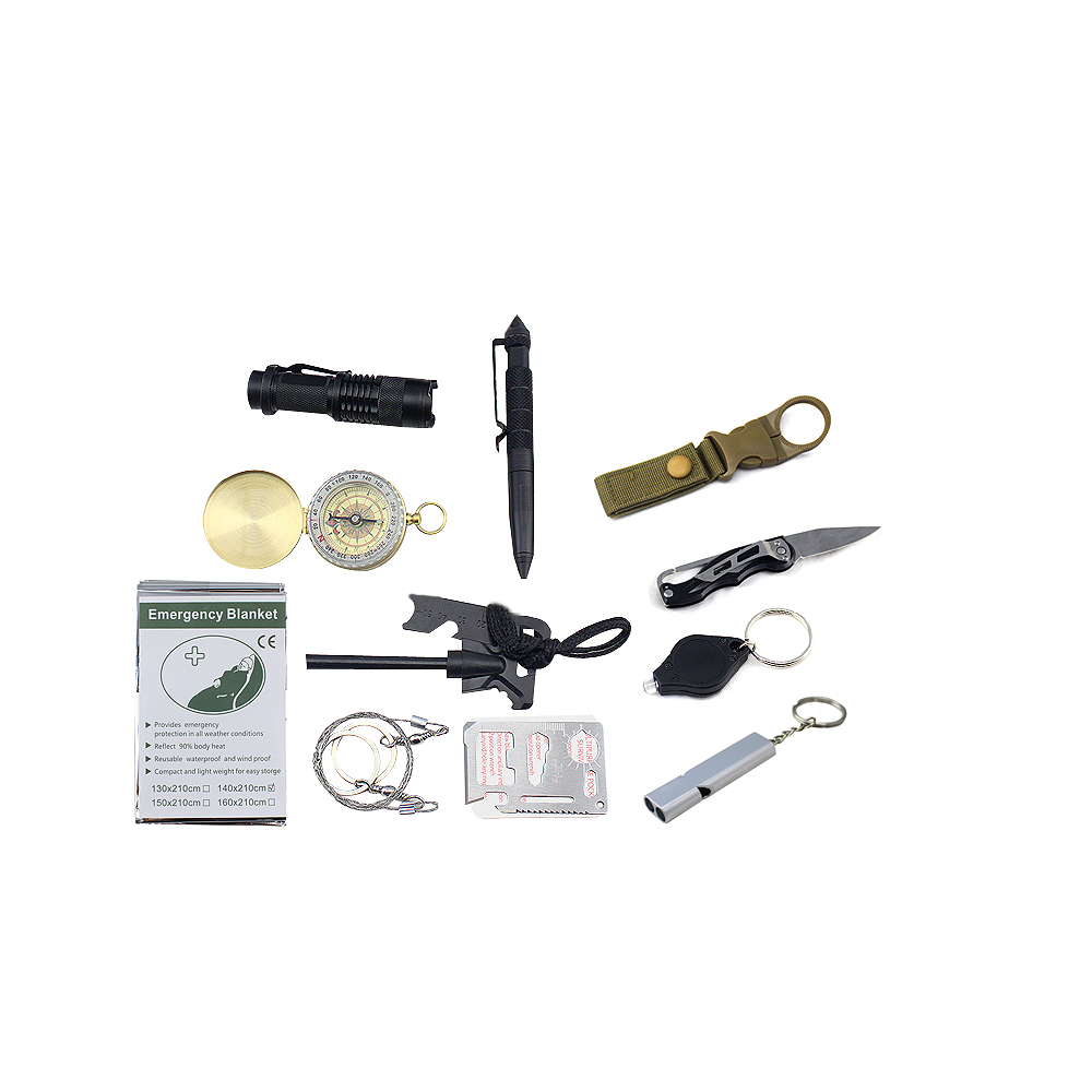 Survival Gear Kits 13 in 1- Outdoor Emergency SOS Survive <strong>Tool</strong> for Wilderness /Trip / Cars / Hiking / Camping gear - Wire Saw