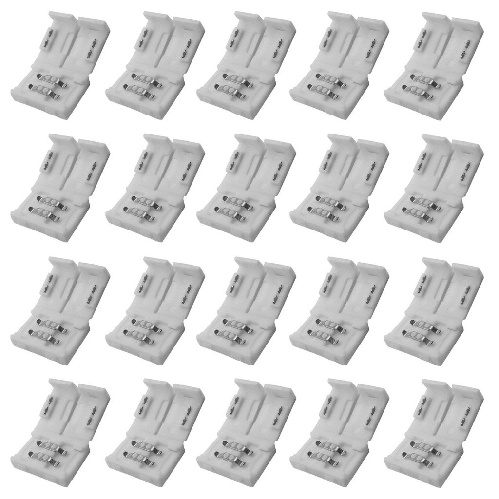 TrendBox 20pcs 8mm 2pins Solderless Connector Adapter Clip-on For Single Color 3528 LED Light Strip No soldering required Non-waterproof