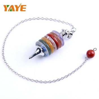 New Arrival Natural Polished Gemstones Chakra Pendulum Wicca Dowsing Reiki  Lobster Clasp Link Chain 7 Chakra Pendulum - Buy Chakra Pendulum,Gemstones
