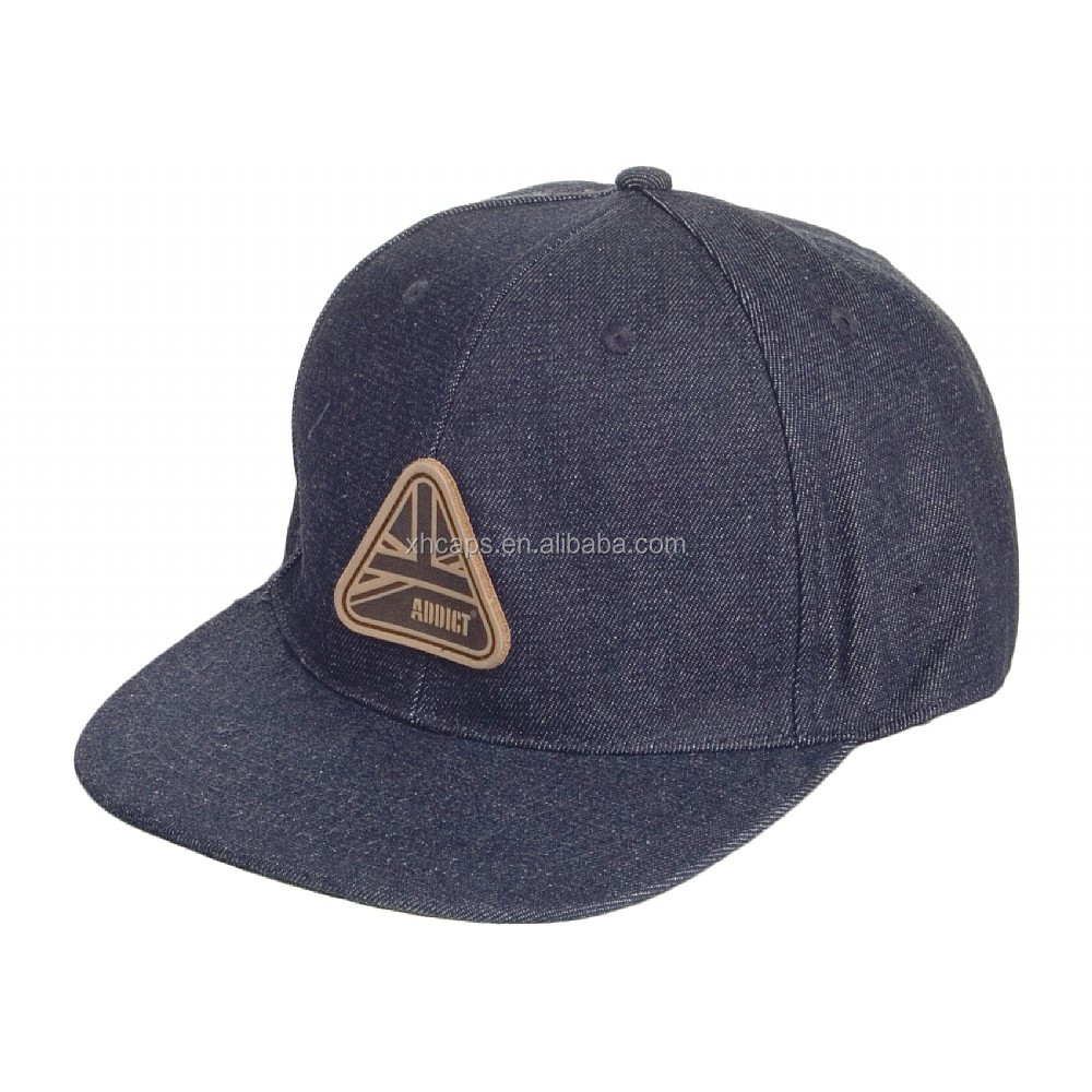 snapback denim caps with leather badge