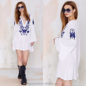 New Look Lace-up Plus Size Embroidered White Dress Bell Sleeves - Buy White  Dress,White Embroidered Dress,Plus Size Dress Product on Alibaba.com
