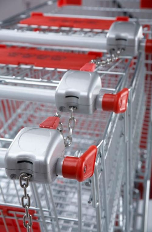 Supermarket coin operated shopping trolley cart locking coin lock