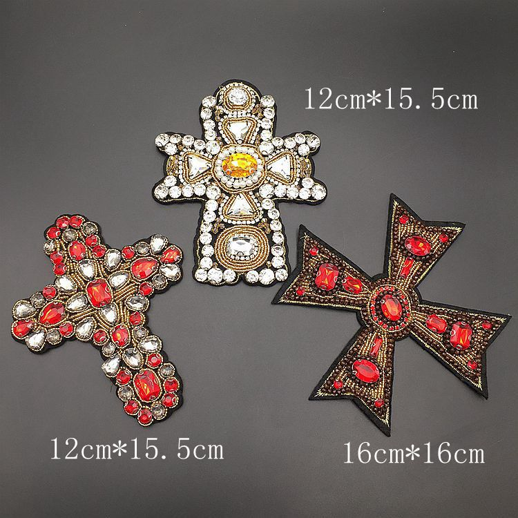 GUGUTREE handmade beaded embroidery sew on cross patches,embroidered pearls crystals star appliques,brooches