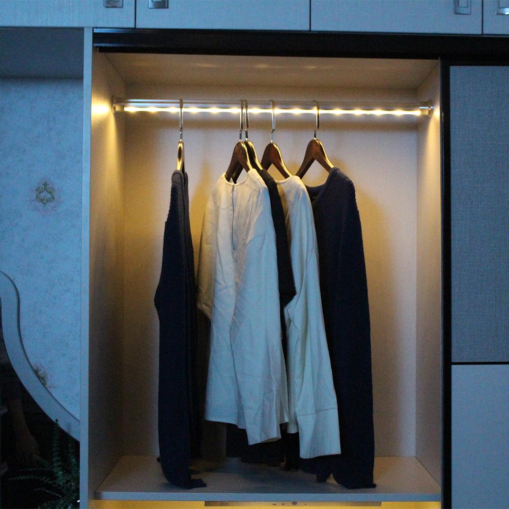 Led Rechargeable Wardrobe Rail Light Clothes Hanger Gantungan Baju Single Pole Closet Rod