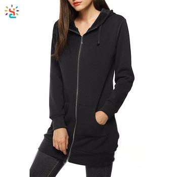 Blank trendy hoody full zip hoodies women long hoodie fleece lined  sweatshirt casual fleece jacket custom 7a003d2532