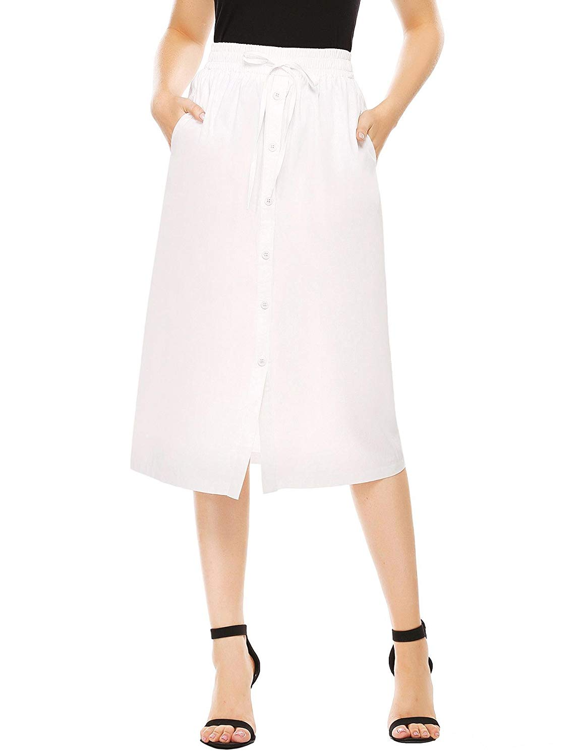 da7d62ee85b0b2 Get Quotations · Shine Women's A-Line High Waisted Button Front Drawstring  Pleated Midi Skirt with Elastic Waist