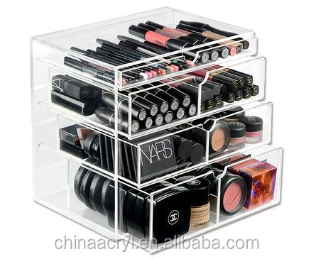 beautiful Clear makeup organizer acrylic <strong>cosmetic</strong> with 6 drawers