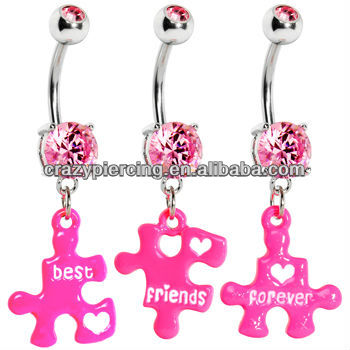 316l Steel Ring Jewelry Pink Gem Triple Puzzle Piece Best Friends Forever Belly Button Piercing Body Navel Ring Buy Body Navel Ring Belly Button