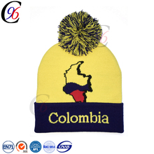 Chengxing new design wholesale cheap winter outdoor sports funny fashion children printing logo custom beanie fur pompom hat